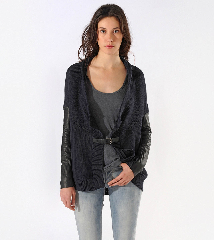 Maje Calane Draped Open Front Cardigan In Black