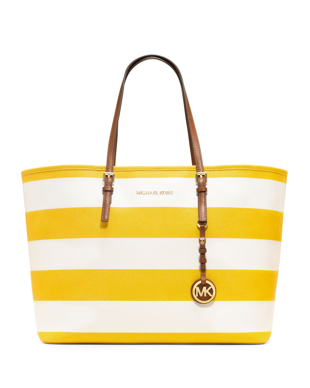 michael michael kors medium jet set striped travel tote in yellow. Black Bedroom Furniture Sets. Home Design Ideas