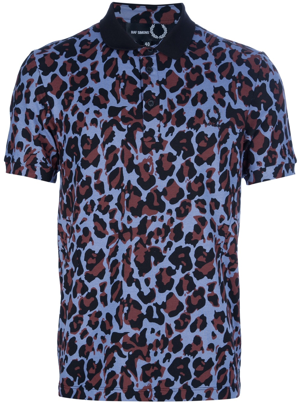 Lyst raf simons leopard print polo shirt in blue for men for Print photo on shirt