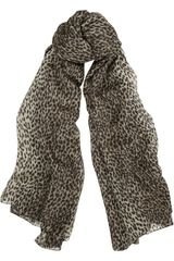 Saint Laurent Leopardprint Cashmere and Silkblend Scarf - Lyst