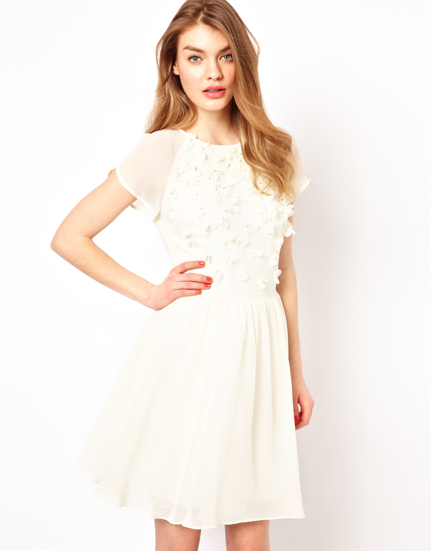 Lyst Ted Baker Prom Dress With Floral Embellishment In White