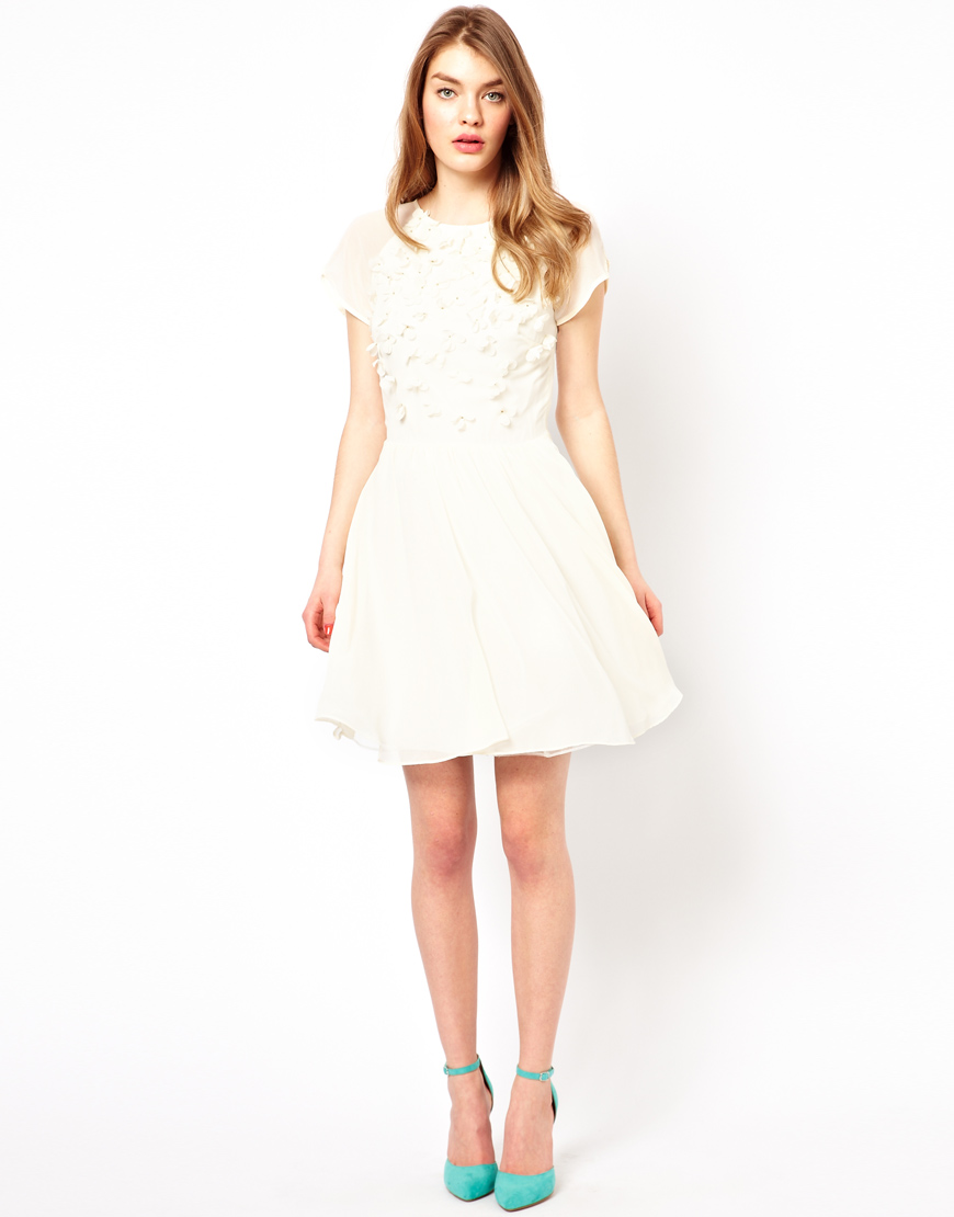 3e83111abed02 Lyst - Ted Baker Prom Dress with Floral Embellishment in White