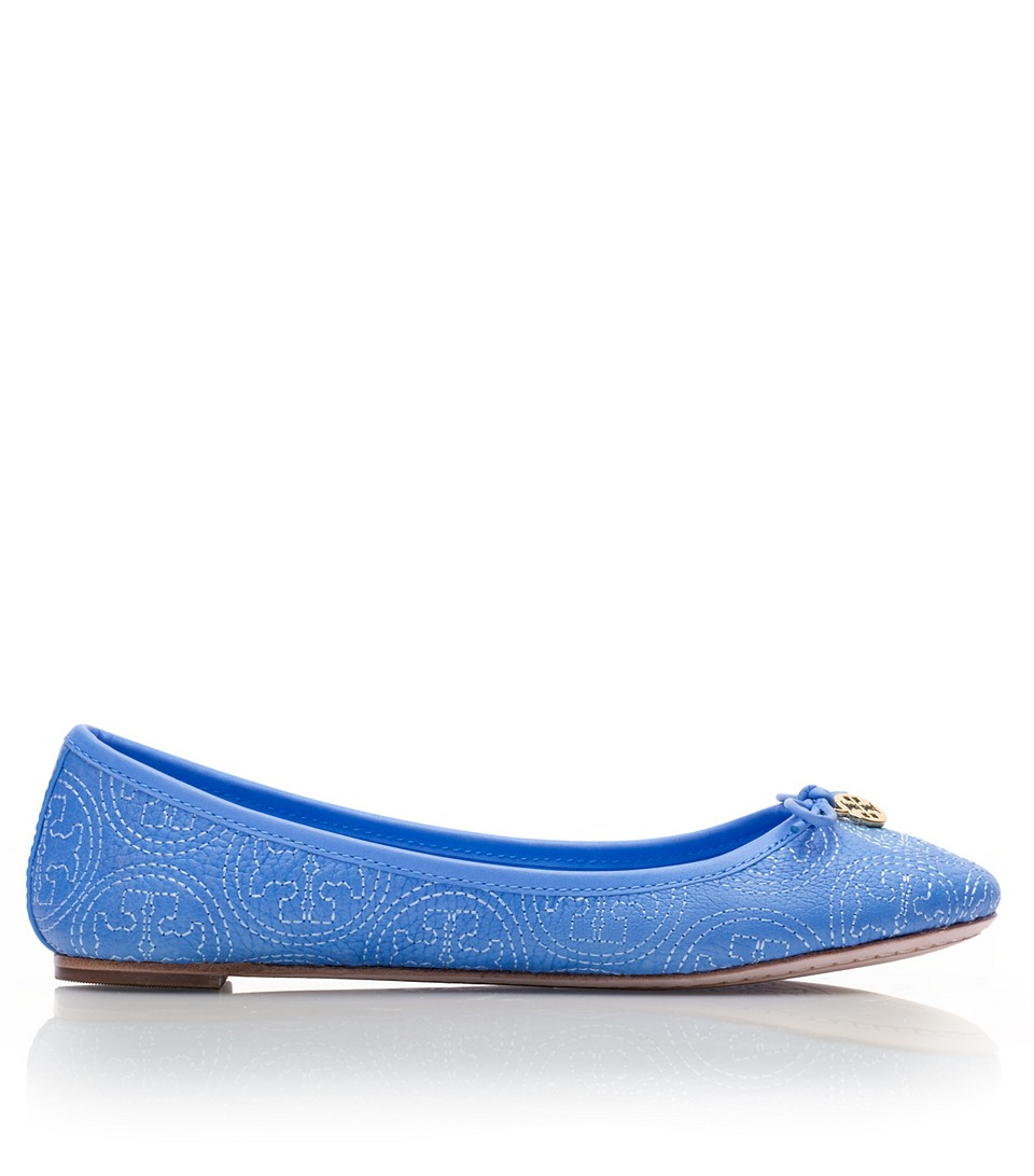 bc9480d52c82 Lyst - Tory Burch Stitched Logo Chelsea Ballet Flat in Blue