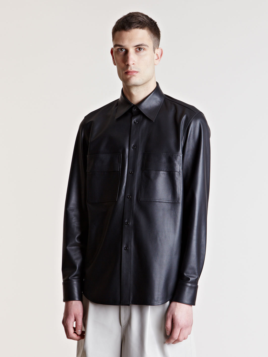 Yang li mens leather shirt in black for men lyst for Mens shirts with leather