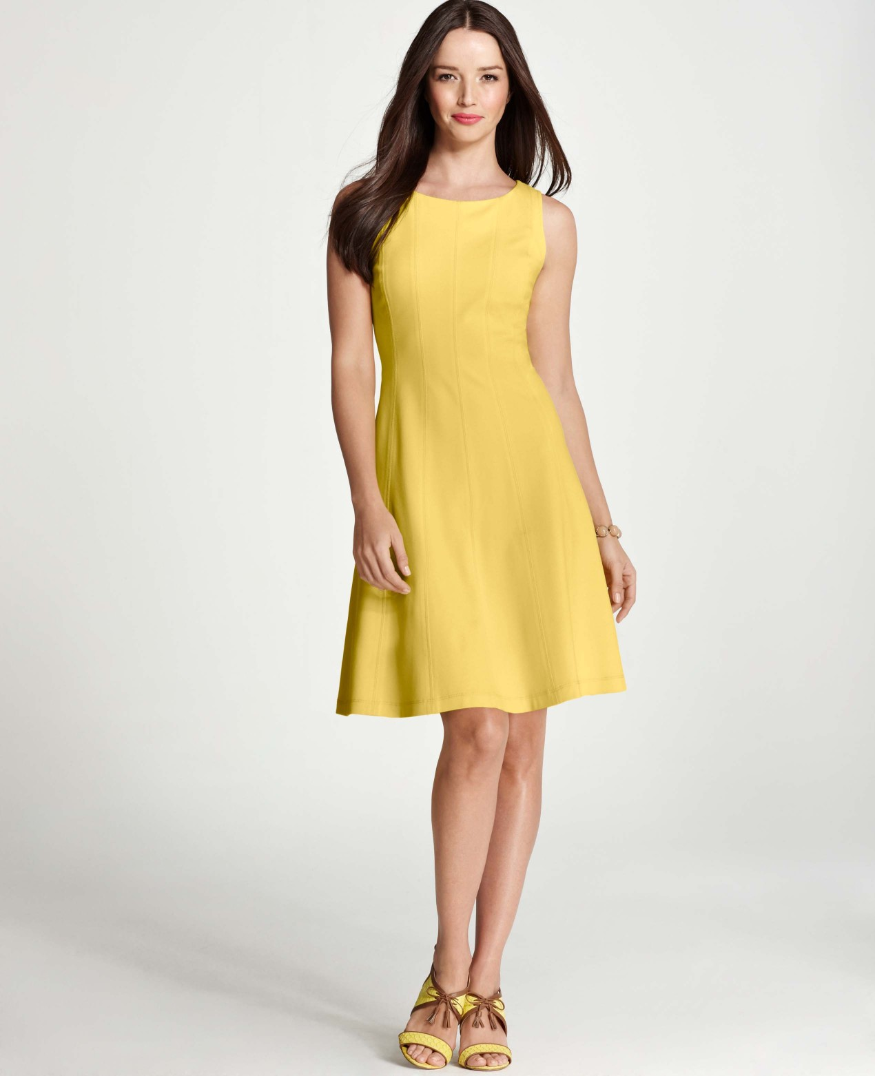 4891d04a53 Ann Taylor Tall Ponte Flounce Dress in Yellow - Lyst