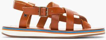 Diesel Brown Leather Juan Sandals - Lyst