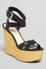 Enzo Angiolini Platform Wedge Sandals Zamaz Mirrored - Lyst