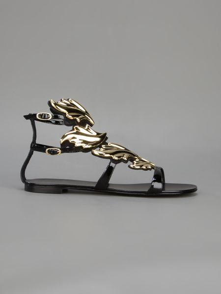Giuseppe Zanotti Winged Panel Gladiator Sandal In Black Lyst