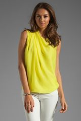 Halston Heritage Shoulder Pleat Blouse in Lemonade - Lyst