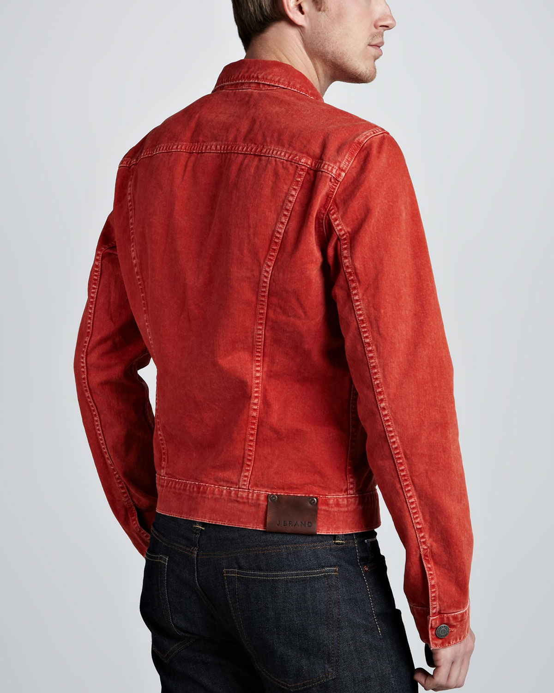 Lyst J Brand Owen Vintage Wash Denim Jacket In Red For Men