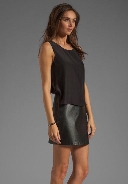 Parker Grace Leather Skirt Dress In Black Lyst