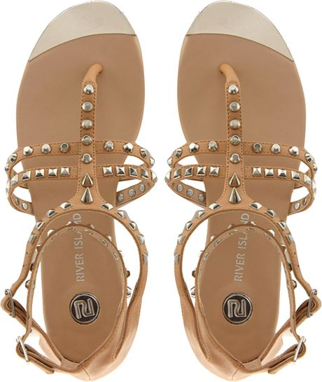 River Island Gladiator Tan Studded Flat Sandals In Beige