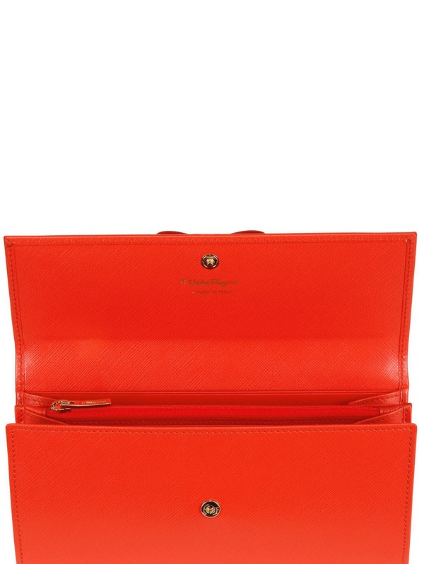 Ferragamo Saffiano Leather Bow Continental Wallet in Orange (dark ...