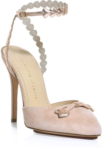 Charlotte Olympia Amour Suede and Metallic Leather Shoes - Lyst