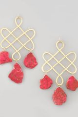 Devon Leigh Red Howlite Drop Earrings - Lyst