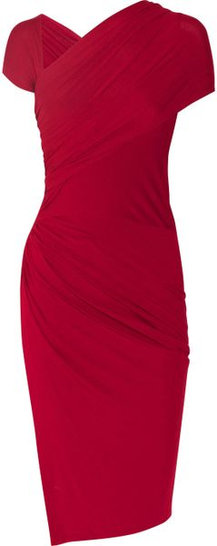 Donna Karan New York Draped Stretch Jersey Knot Dress in Red (scarlet) - Lyst