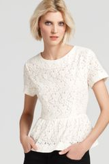 French Connection French Connection Top Mykas Lace Peplum - Lyst