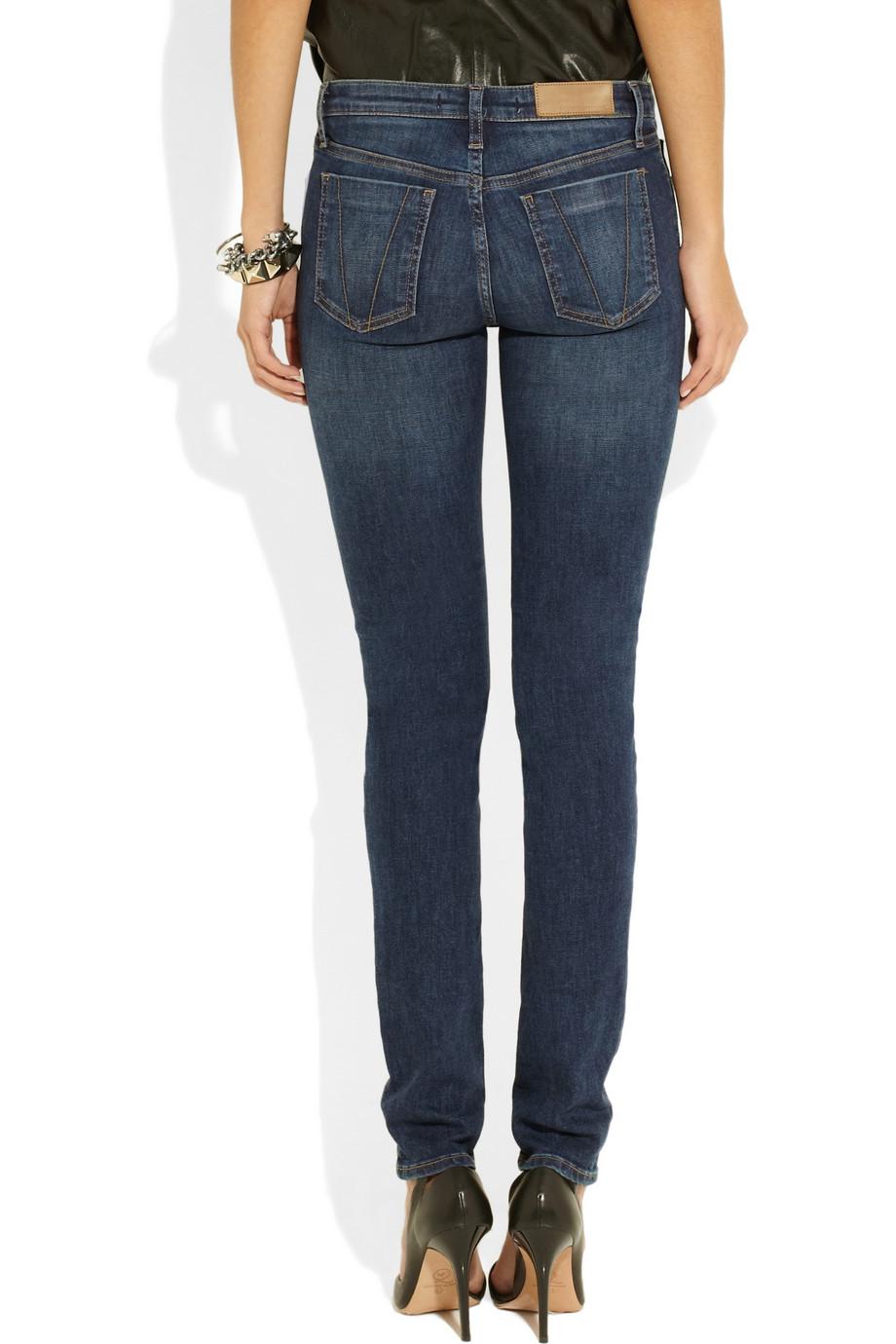 victoria beckham super skinny mid rise jeans in blue lyst. Black Bedroom Furniture Sets. Home Design Ideas