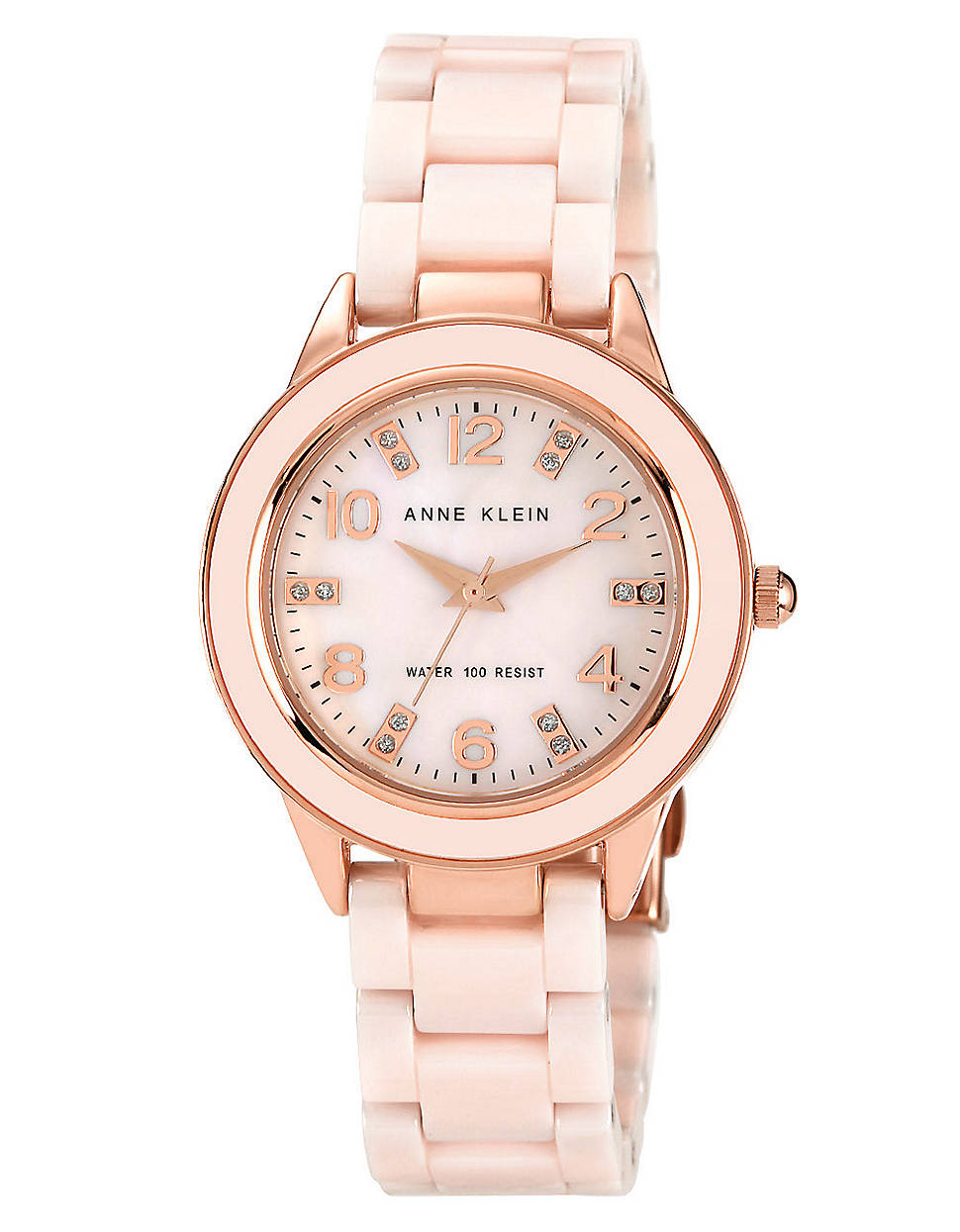 anne klein women 39 s round light pink ceramic quartz watch in pink rose lyst