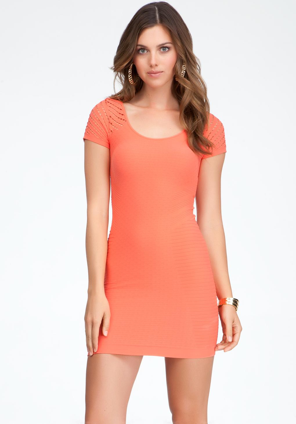 Bebe Diamond Cutout Bodycon Dress In Orange Hot Coral Lyst