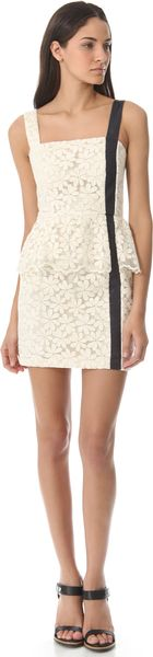 Charlotte Ronson Peplum Dress with Leather Detail - Lyst