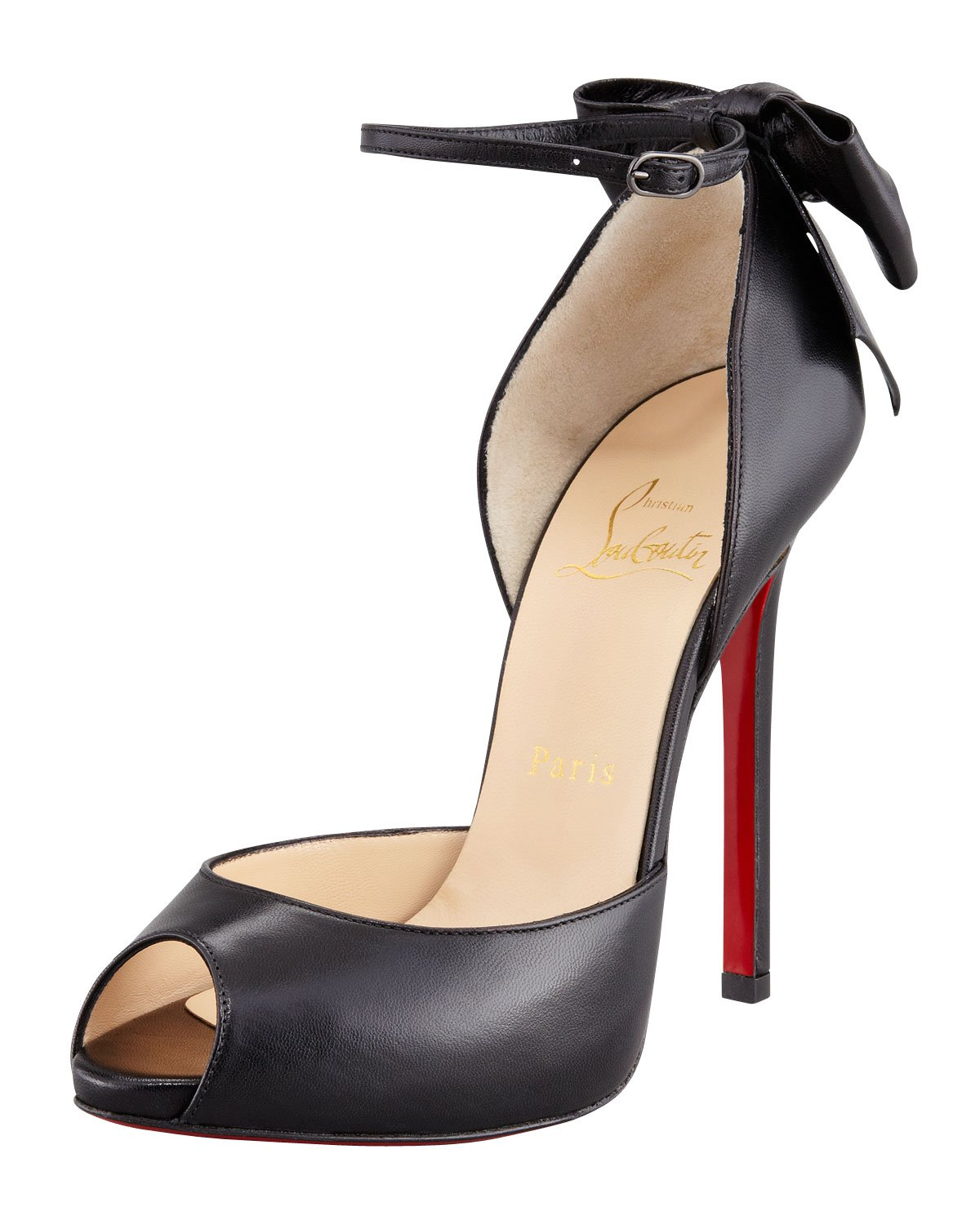 2247ed592c90 Christian louboutin Dos Noeud Backbow Dorsay Red Sole Pump Black in Black
