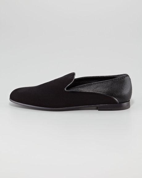 giorgio armani velvet metallic formal shoe in black for