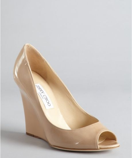 Jimmy Choo Nude Patent Leather Peep Toe Bello Wedges In