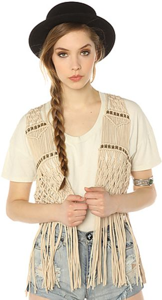 Ladakh The Nevada Fringe Crochet Vest in Beige (white)