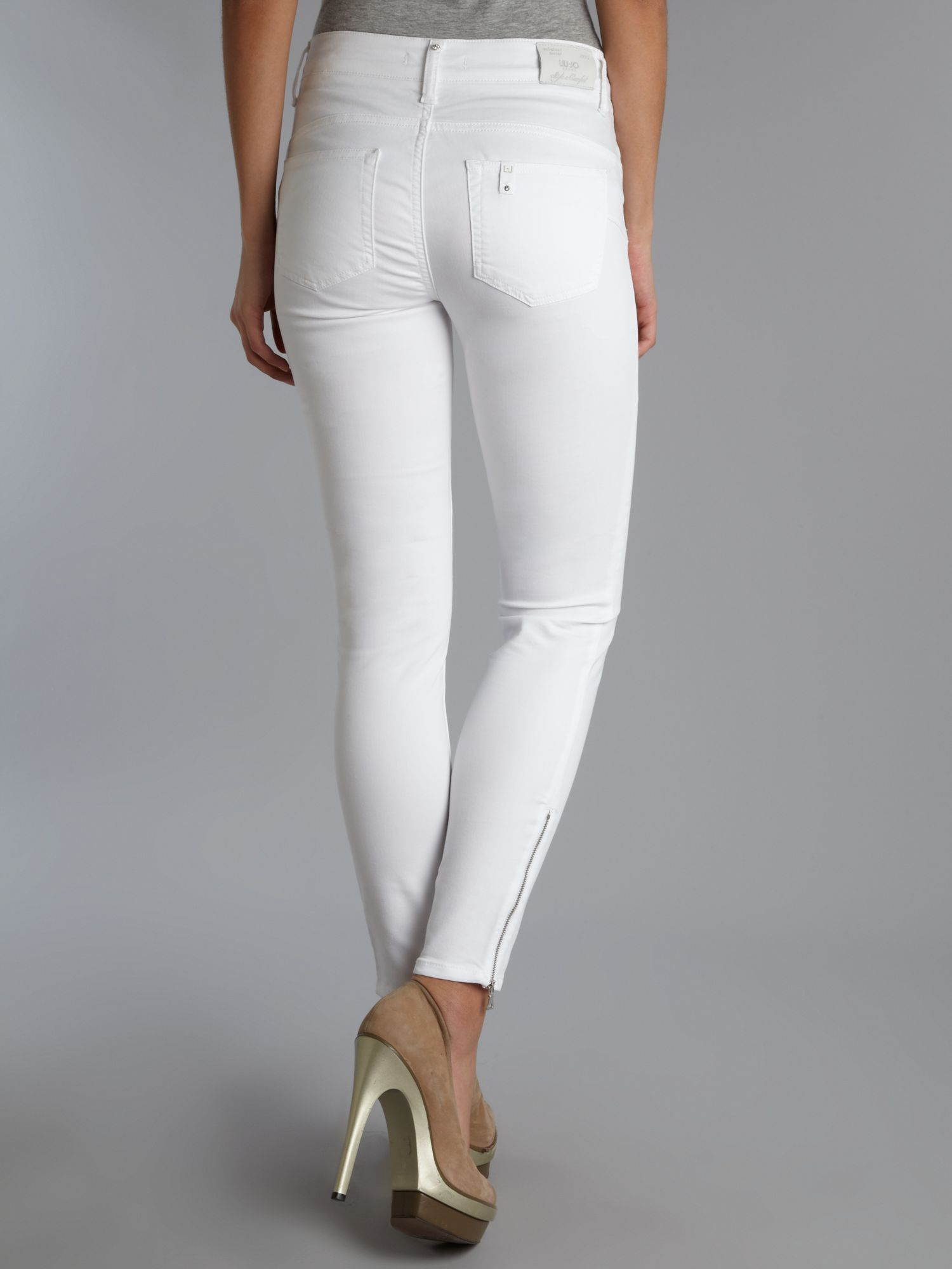 White Ankle Zip Skinny Jeans - Jeans Am