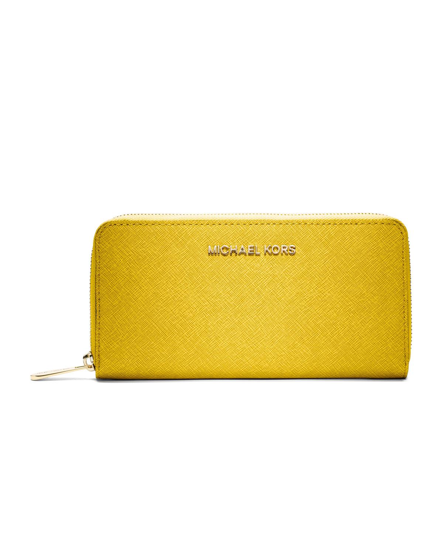 0f8532321d22 ... yellow 94648 76a53  wholesale lyst michael michael kors jet set  saffiano continental wallet in 5e460 31cd6