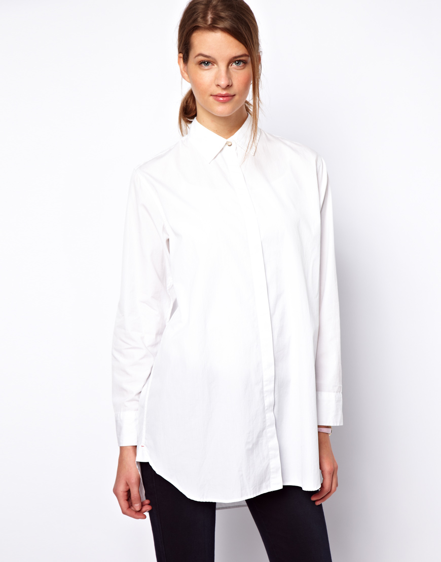 M.i.h jeans Longline Shirt in White | Lyst