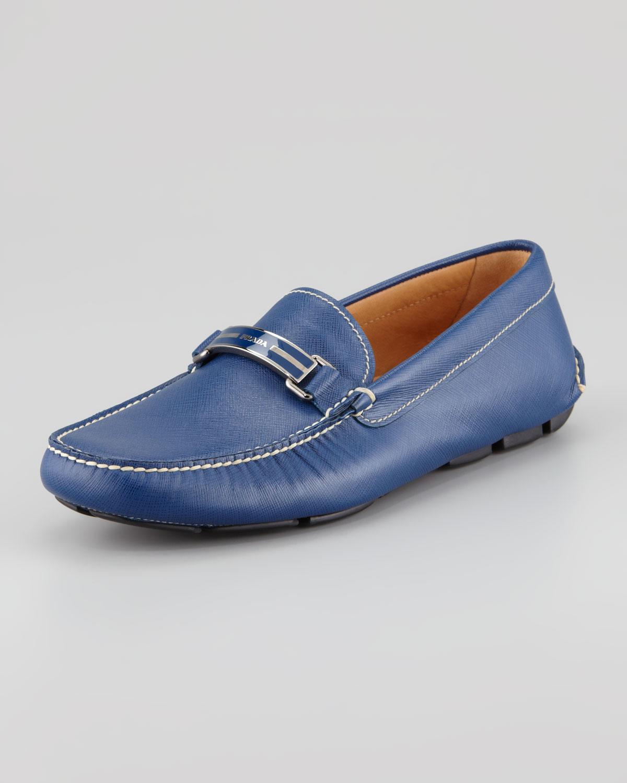 cfc333cae40 ... discount prada saffiano plaque driver loafer in blue for men lyst a95b4  178e5