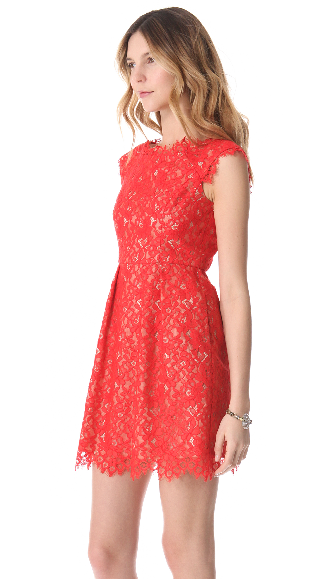 Shoshanna Lace Mini Dress in Red  Lyst