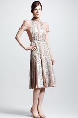 Valentino Snakeskin Pleated Dress Beig - Lyst