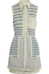 3.1 Phillip Lim Chiffonpaneled Denim Shirt Dress - Lyst