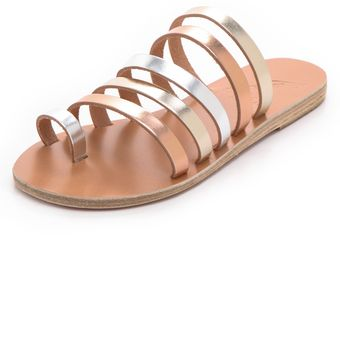 Ancient Greek Sandals Niki Metallic Strappy Slides - Lyst