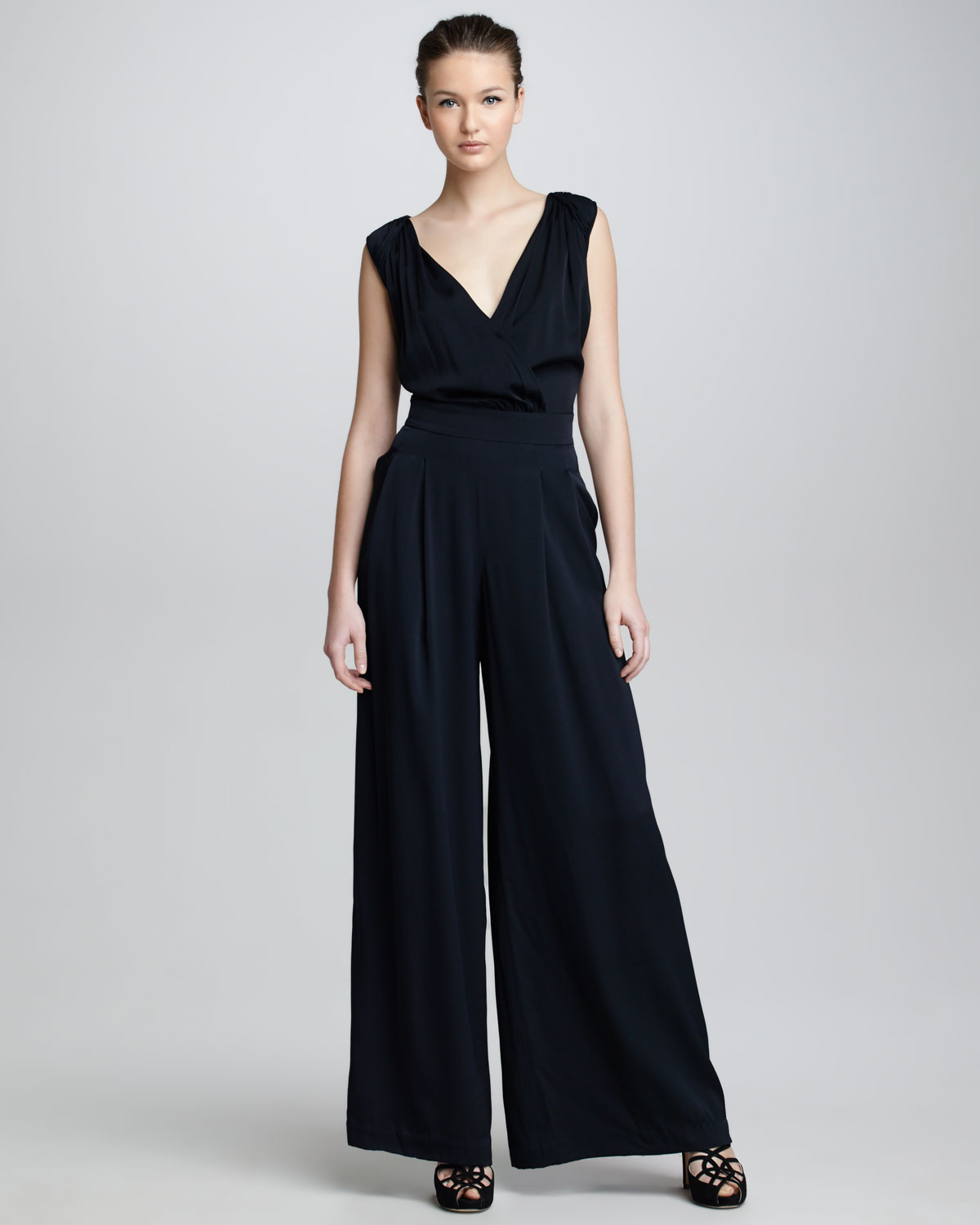 Armani Wideleg Jumpsuit in Black | Lyst