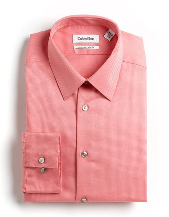 Calvin Klein Textured Striped Cotton Dress Shirt - Lyst