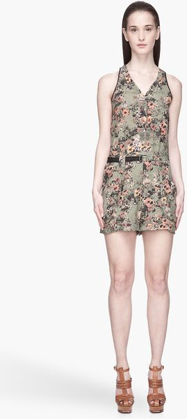Edun Green and Pink Etched Poppies Print Washed Silk Romper - Lyst