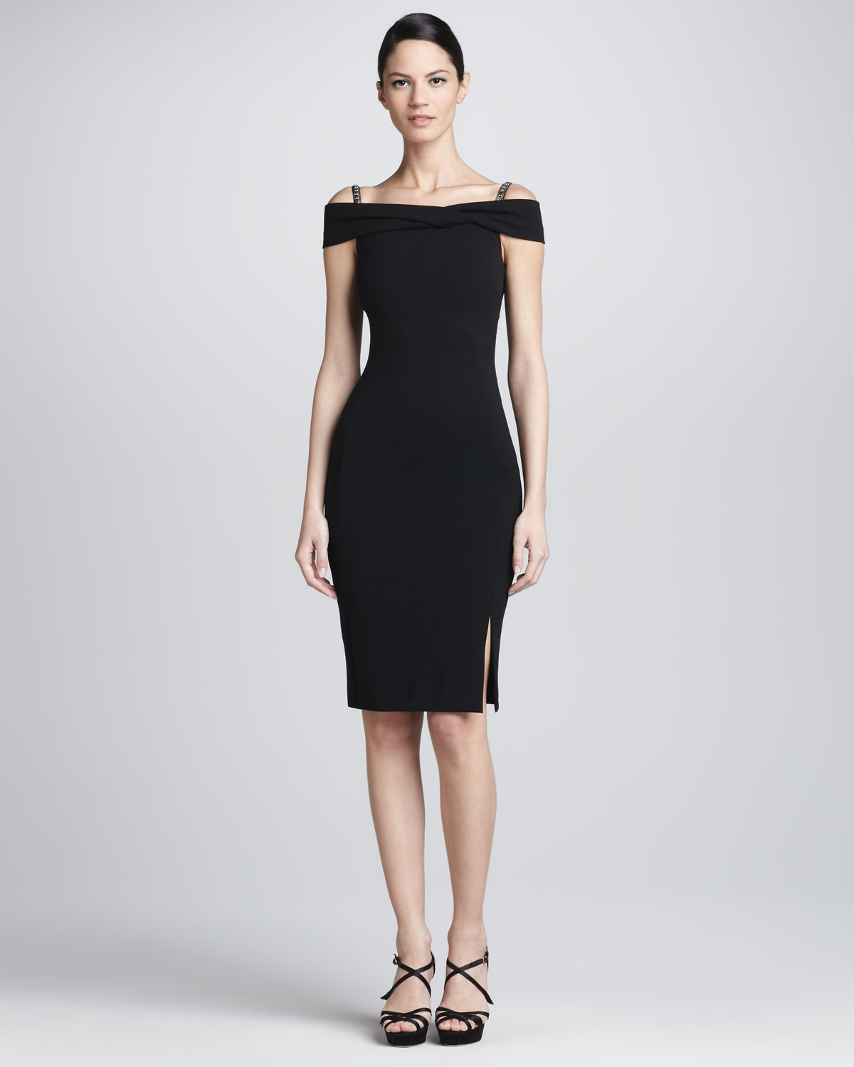 a23bacc5d2a7 Lyst - Emilio Pucci Beaded Strap Off The Shoulder Dress in Black