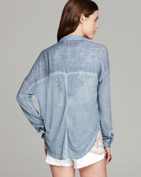 Free people shirt zahara gauze button down in blue slate for Gauze button down shirt