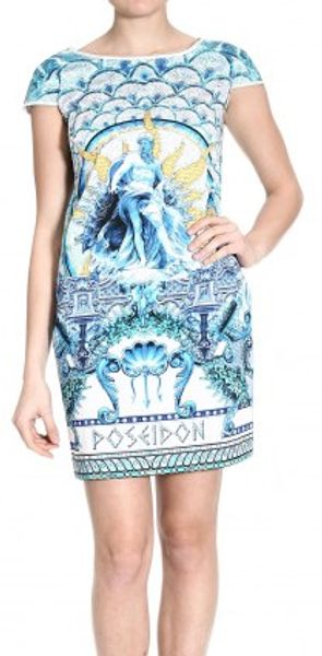 Just Cavalli Short Sleeve Poseidon Print Cotton Dress - Lyst