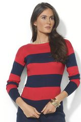 Lauren by Ralph Lauren Combed Cotton Boatneck Sweater - Lyst