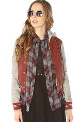 Obey The Varsity Lover Jacket in Burgundy Gray - Lyst