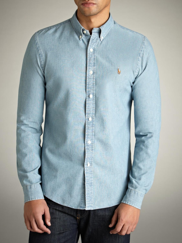 35fb13757ffd Polo Ralph Lauren Medium Wash Long Sleeve Shirt in Blue for Men - Lyst