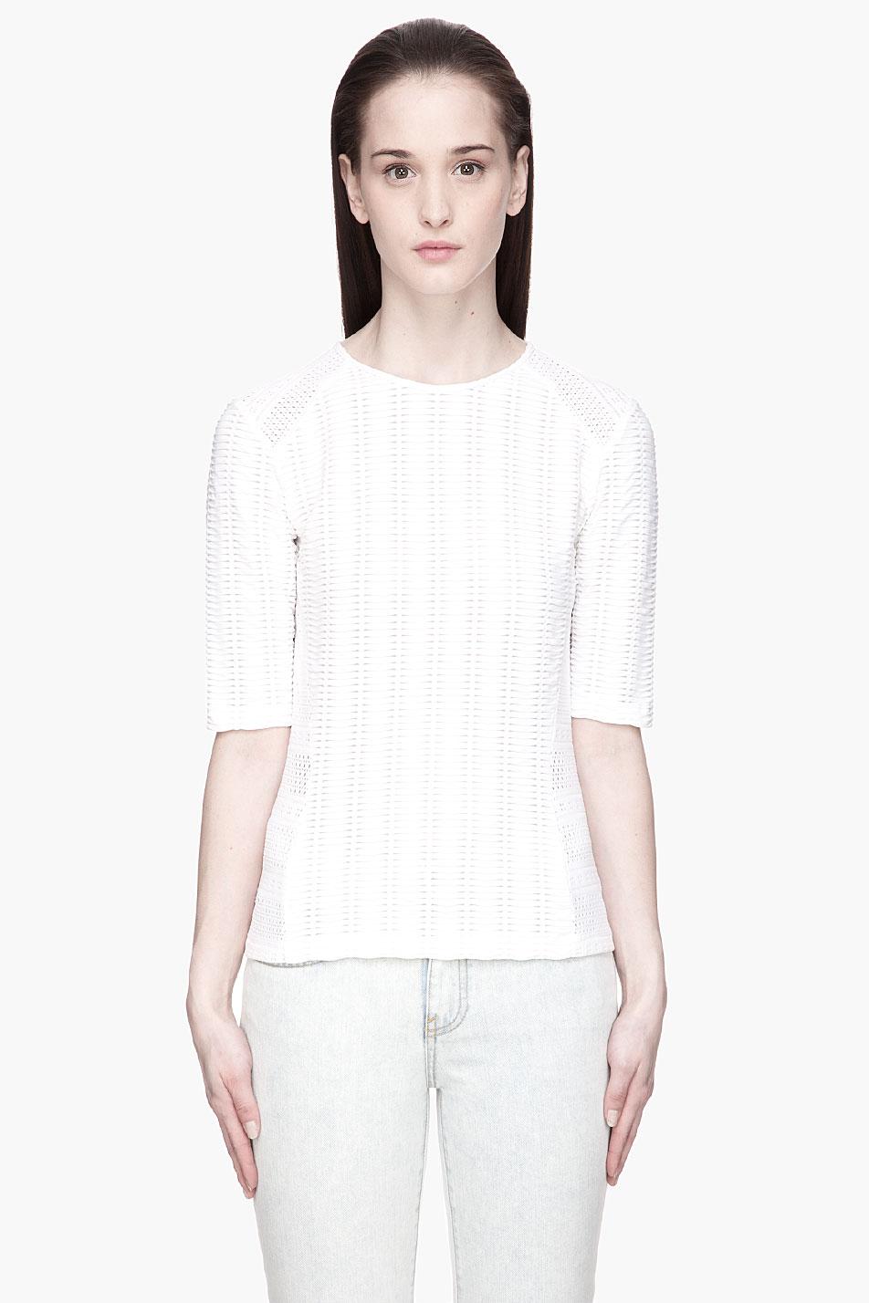 Rag bone white perforated and ribbed niki tshirt in for Rag and bone white t shirt