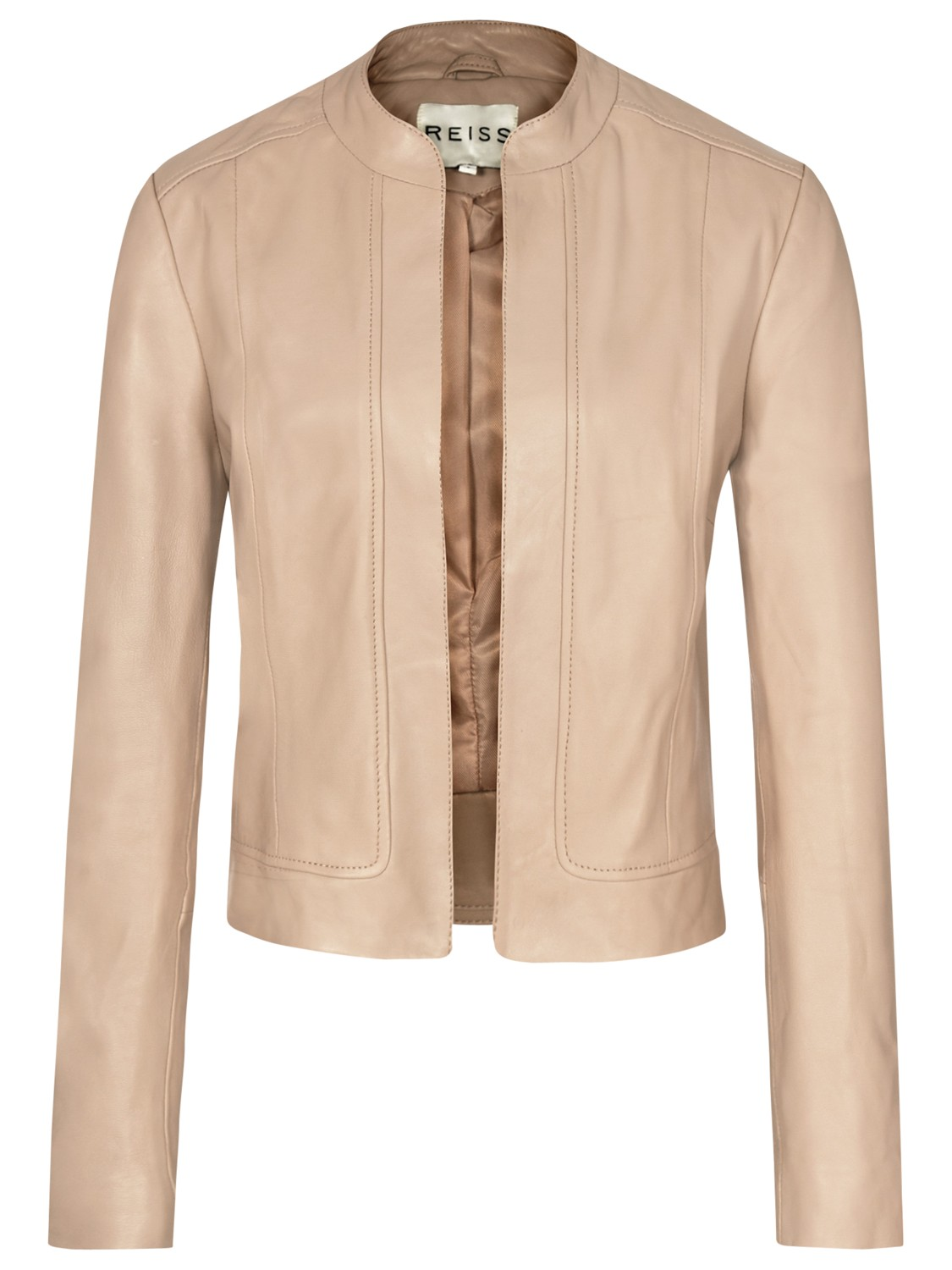 Reiss Bryony Cropped Leather Jacket Blush In Pink Blush