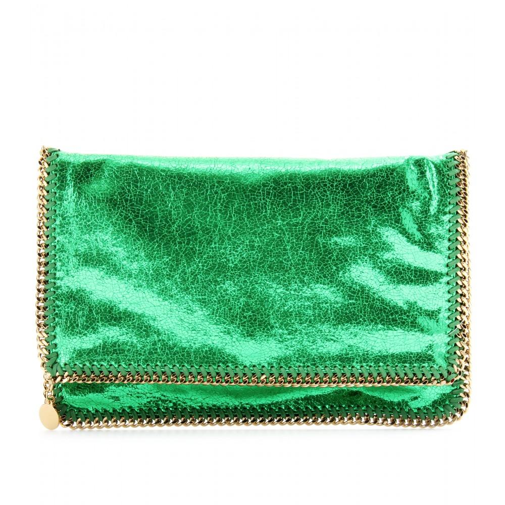 stella mccartney falabella metallic clutch in green lyst. Black Bedroom Furniture Sets. Home Design Ideas