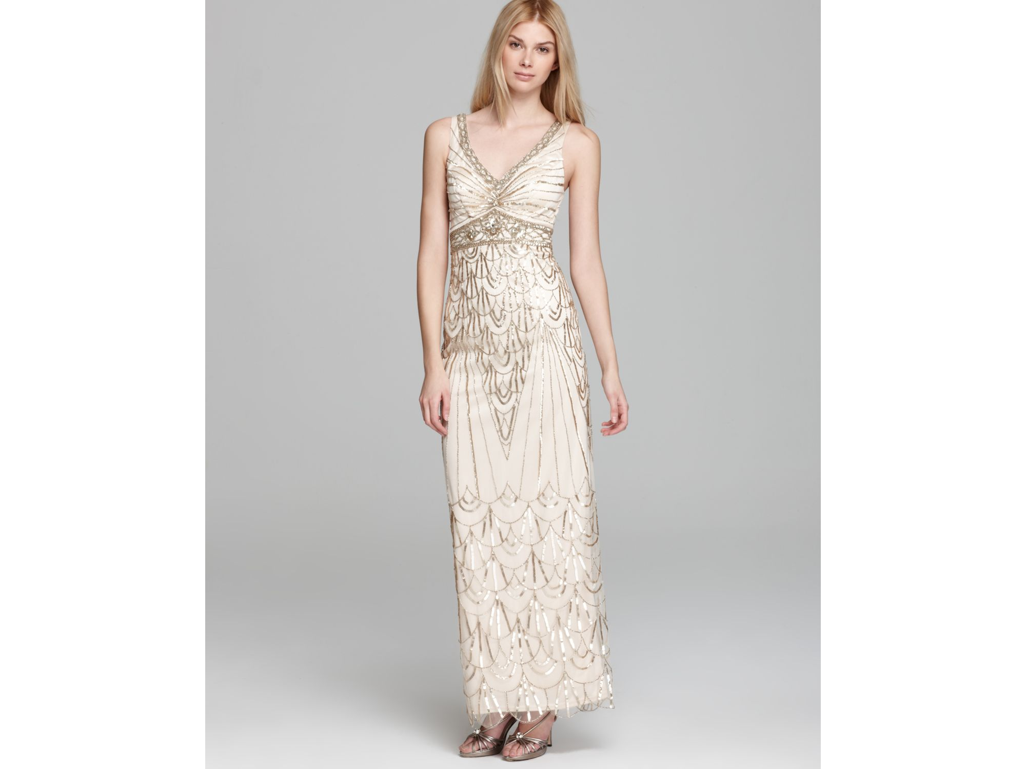 Lyst - Sue Wong V- Neck Beaded Gown in Metallic